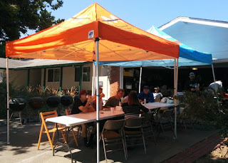 Orange and blue canopies shade the diners, San Jose, California