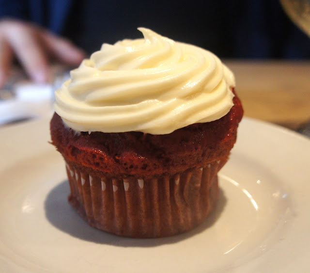 gluten free red velvet cupcake at Risotteria in NYC
