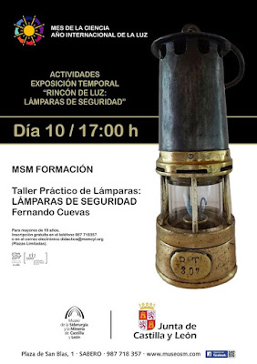 Cartel del taller de lámparas de seguridad en el MSM