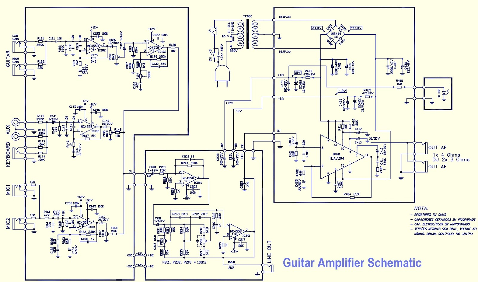 Guitar Amplifier Schematic Used Ics Mc4558 Tda7294 Electro Help Wiring Diagram The Output Ic Should Be Mounted On Aluminium Extruded Heat Sink Use Of Compound Is A Must