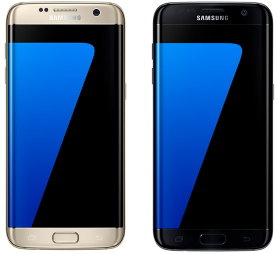 The Samsung Galaxy S7 edge is available in gold and black colors