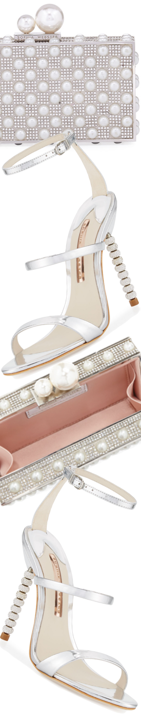 Sophia Webster Rosalind Crystal Heel Sandal and Clara Pearly Clutch