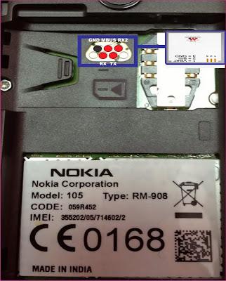 Pinout Nokia 105 RM-908 RJ45/ F-Bus