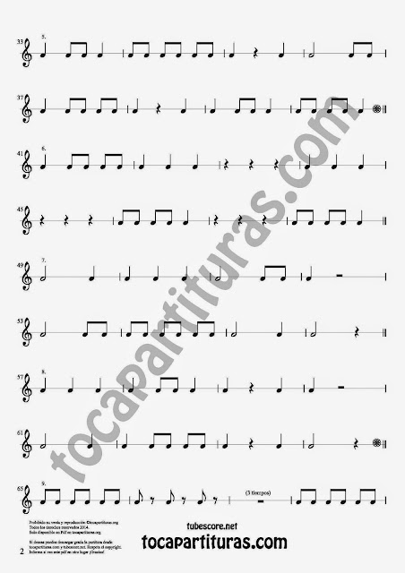 2 17 Ejercicios Rítmicos para Aprender Solfeo Negras, corcheas, blancas y sus Silencios Easy Rithm Sheet Music for quarter notes, half notes, 1/8 notes and silences