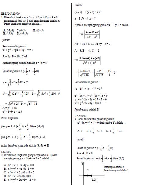 Soal Persamaan Lingkaran : persamaan, lingkaran, Kumpulan, Persamaan, Lingkaran, Pengetahuan