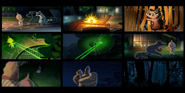 Incredibles 2 Jack-Jack and raccoon fight color script by Ralph Eggleston