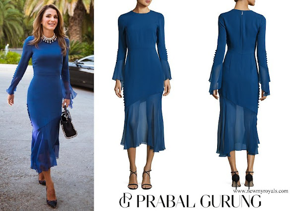 Queen Rania wore Prabal Gurung Bell Sleeve Silk Midi Dress with Asymmetric Skirt