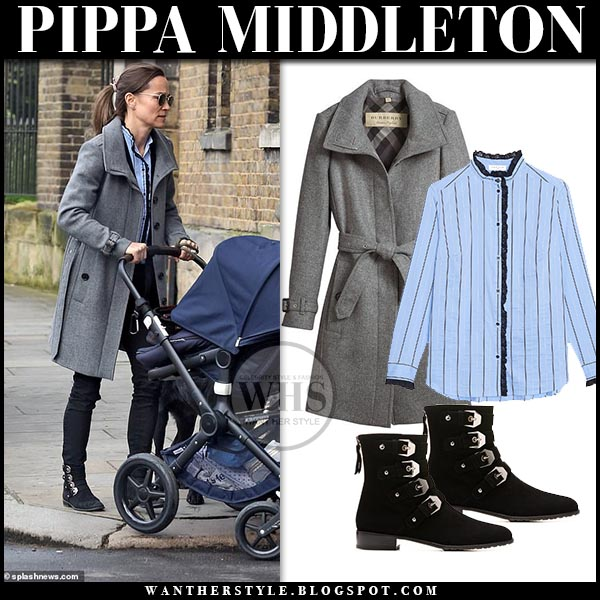 4d555c4c99d57f Pippa Middleton in grey coat and blue striped shirt in London on ...