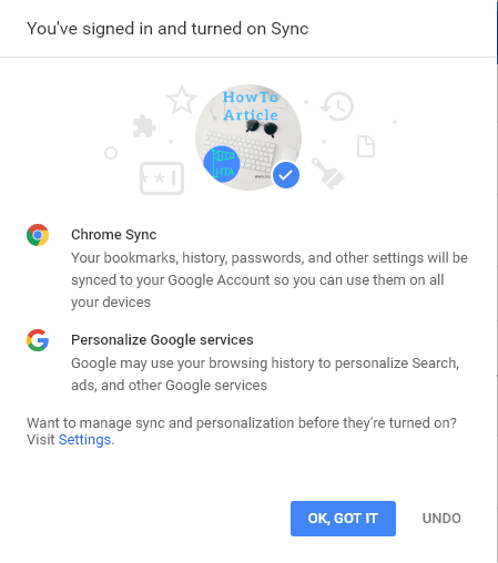 signed in and turned on sync
