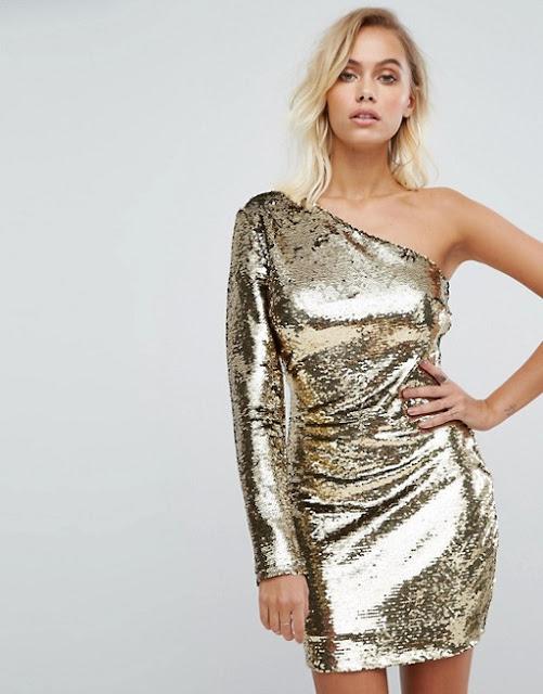 Fashion Union - Vestito monospalla con paillettes oro | 15 vestiti capodanno 2018