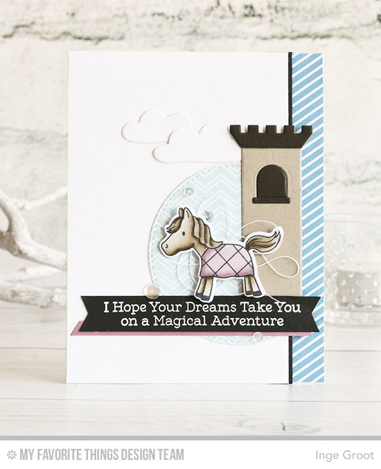 Handmade card from Inge Groot featuring Knight in Shining Armor stamp set and Die-namics, Castle, Cloud 9, and Stitched Arch STAX Die-namics #mftstamps