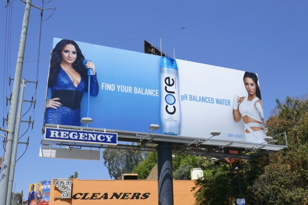 Demi Lovato Find balance Core water billboard