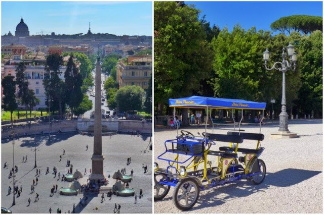 Vistas de la Piazza del Popolo y de Roma desde el Pincio  - Bicicleta colectiva en el Pincio y en el parque Villa Borghese