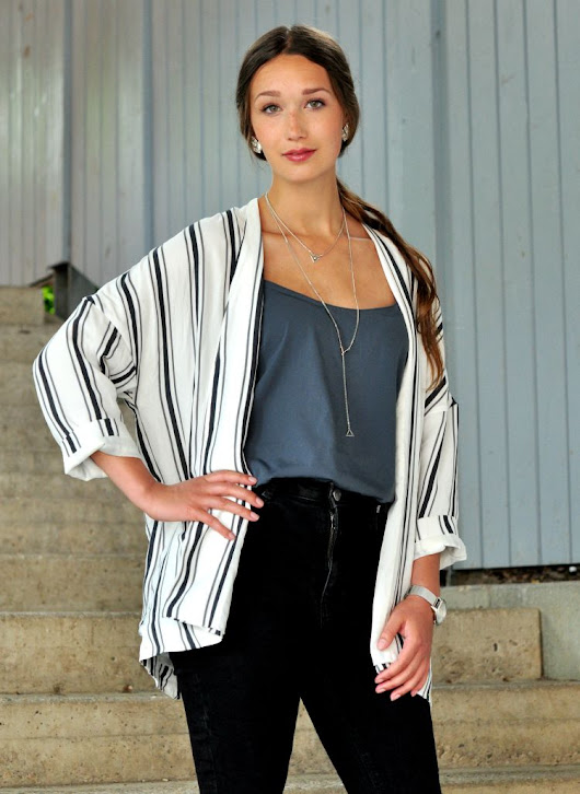 Black Skinnys and striped Blazer
