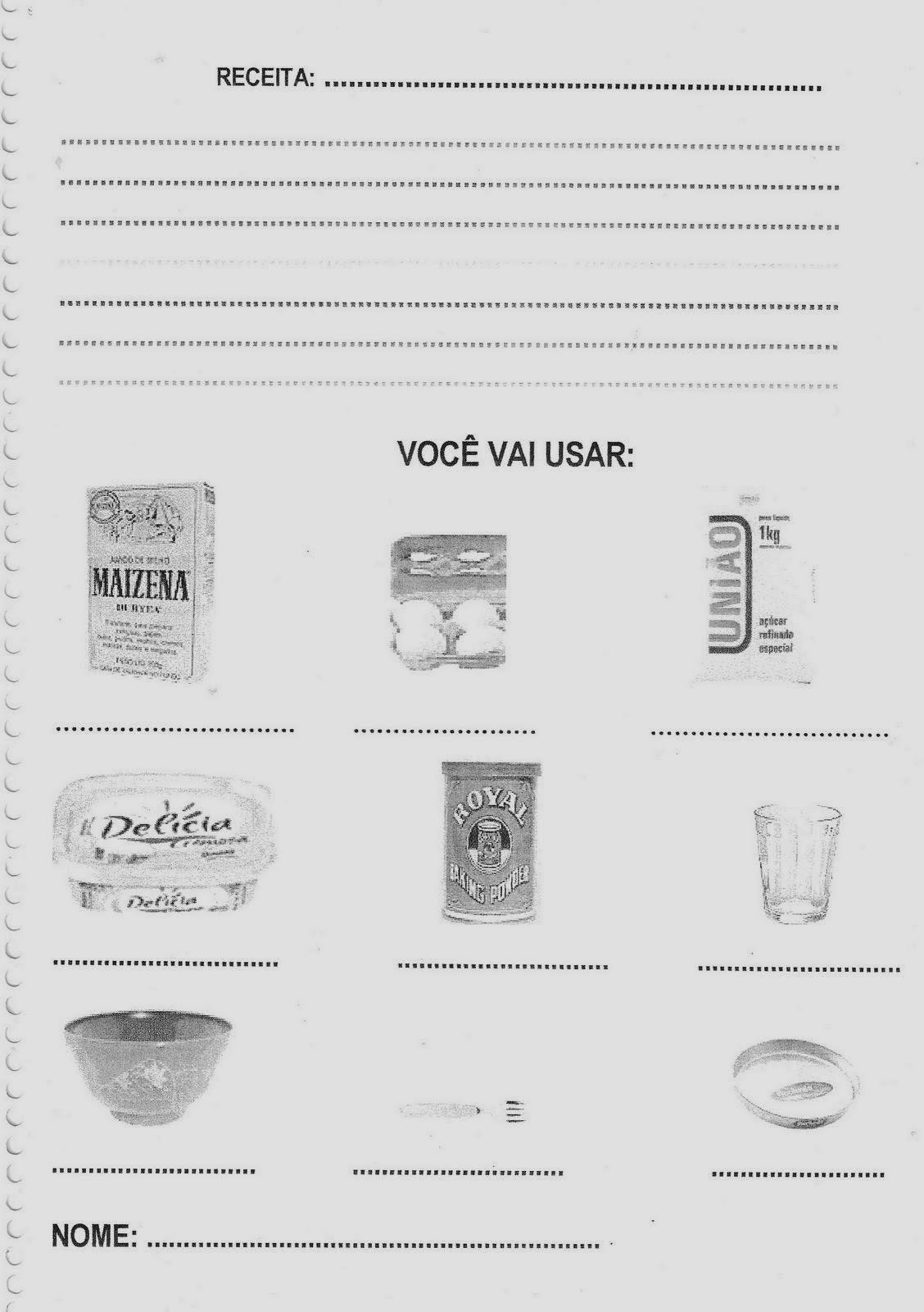 Atividades sobre Alimentação - Receita