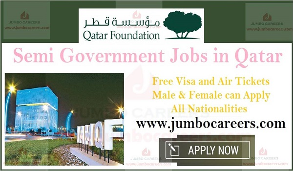 Qatar Foundation careers for expats, Semi Government job with salary and benefits,