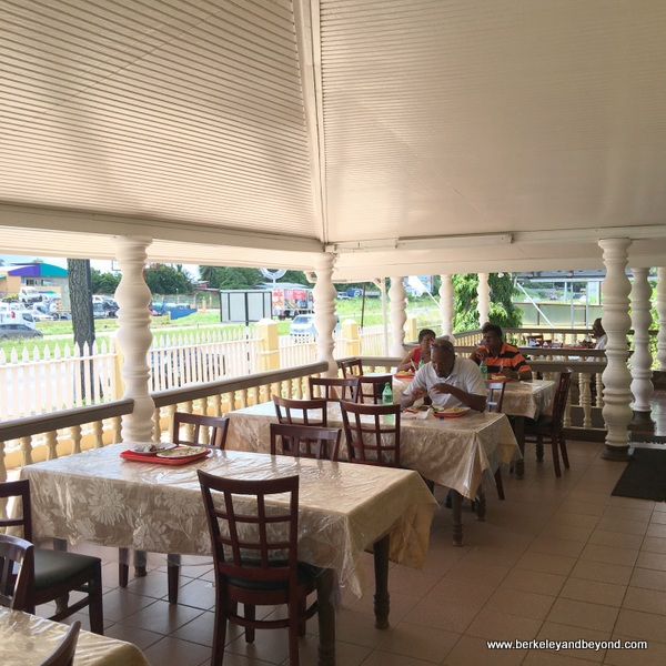 dining patio at Highway Roti Shop in Freeport, Trinidad