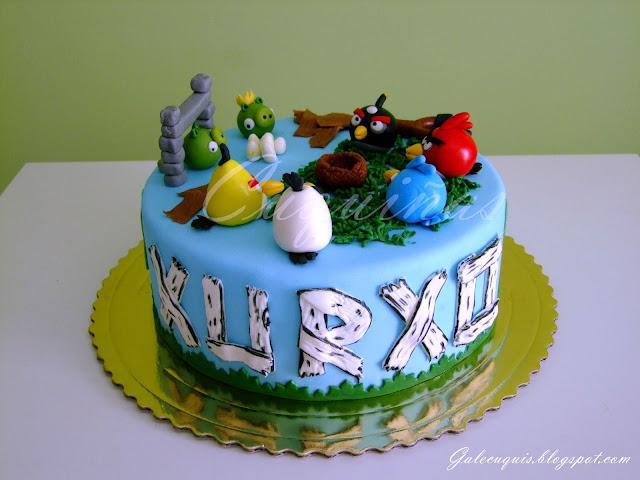 fotografía de tarta de fondant de los angry birds