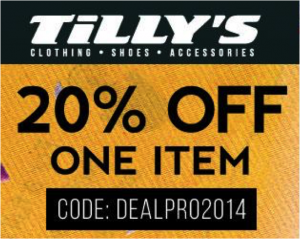 20% Off Any Single Item at Tillys.com, coupons, deals, sports, shop, shopping, sports shop, action shop, fitness shop,