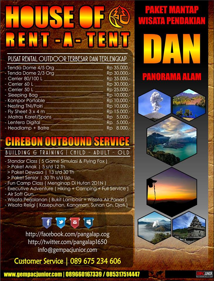 Tempat Penyewaan Rental Tenda Dan Perlengkapan Naik Gunung Hiking Outdoor Di Cirebon Gempac Junior