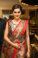 Tapsee Pannu Latest Stills in Red Silk Saree at Anando hma Pre Release Event .COM 0027.JPG