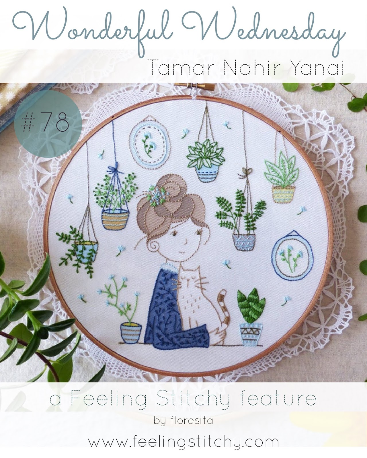 Wonderful Wednesday 78 - Tamar Nahir Yanai Cats and Houseplants embroidery kit as featured by floresita on Feeling Stitchy