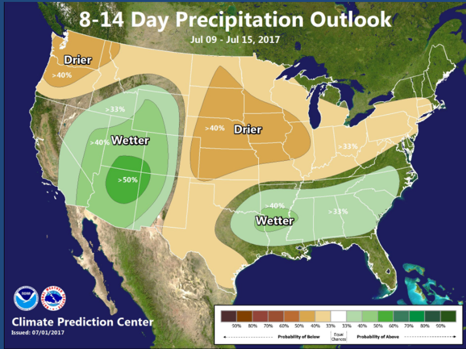 Here Is The 8 14 Day Outlooks From The Climate Prediction Center Issued July 1st Valid From The 9th Through The 15th