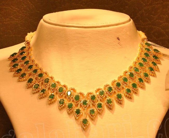 Emeralds and Diamond Necklace by Malabar Gold Jewellery Designs