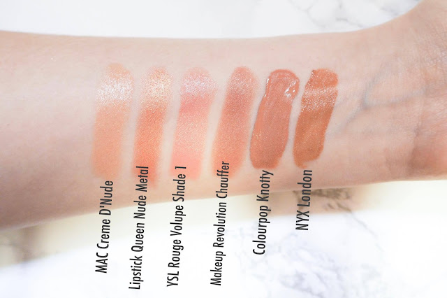 Swatches of Mac Creme d'Nude, Lipsick Queen Nude Metal, YSL Shade 1, Makeup Revolution Chauffer, Colourpop Knotty, NYX London