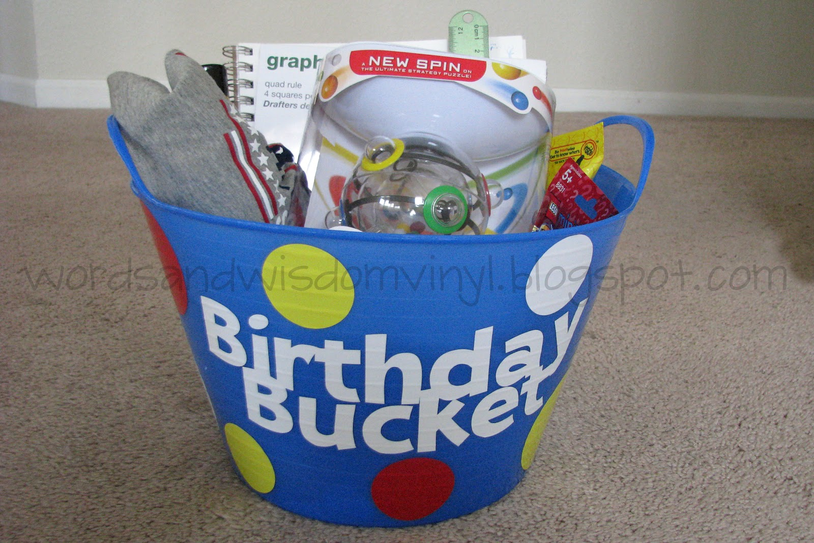Here Is The Bucket My Son Got Today In It Was A New T Shirt Game Lego Mini Figure We Love These Our House Some Glow Sticks Silly String