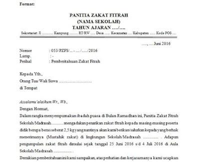contoh surat edaran dari sekolah untuk orangtua wali siswa terkait zakat fitrah