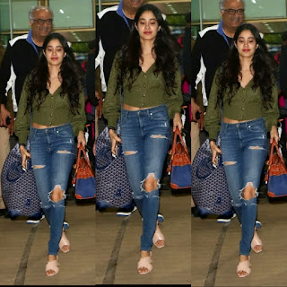 Jhanvi Kapoor in jeans top