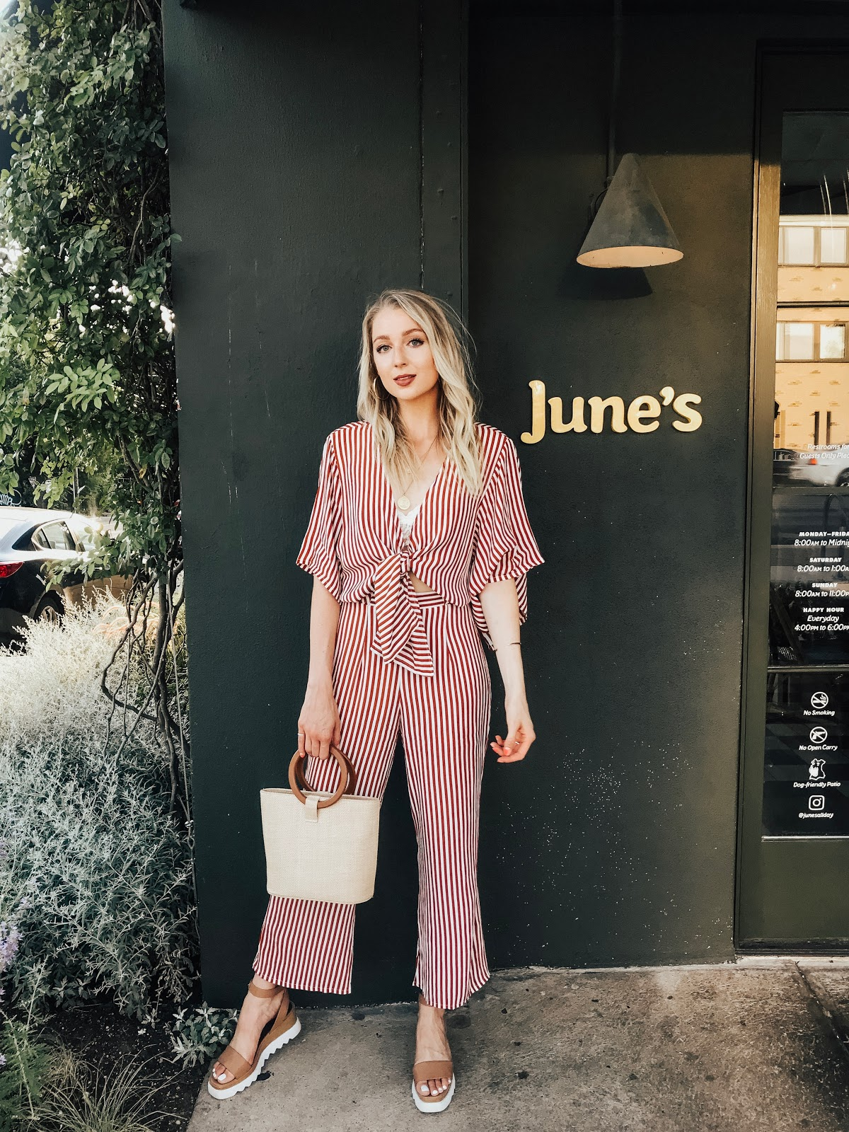 Striped jumpsuit - the perfect comfy outfit for siteseeing!