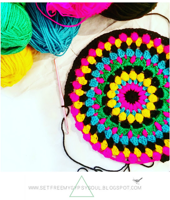 free crochet mandala pattern floral bright bohemian boho colour colorful