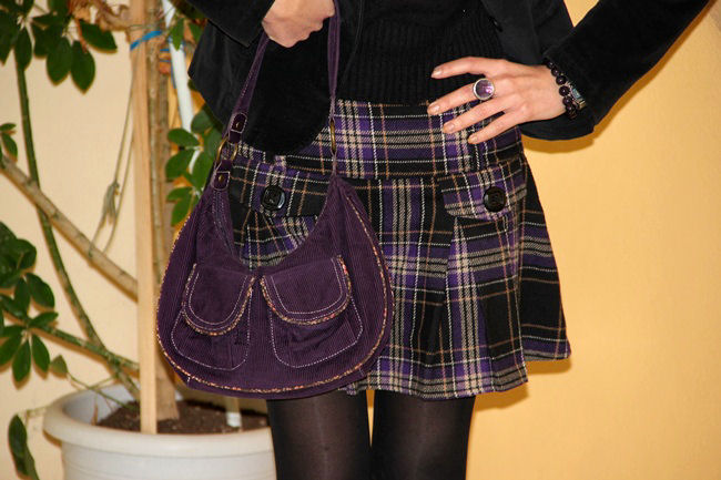 purple tartan plaid print tweed mini skirt