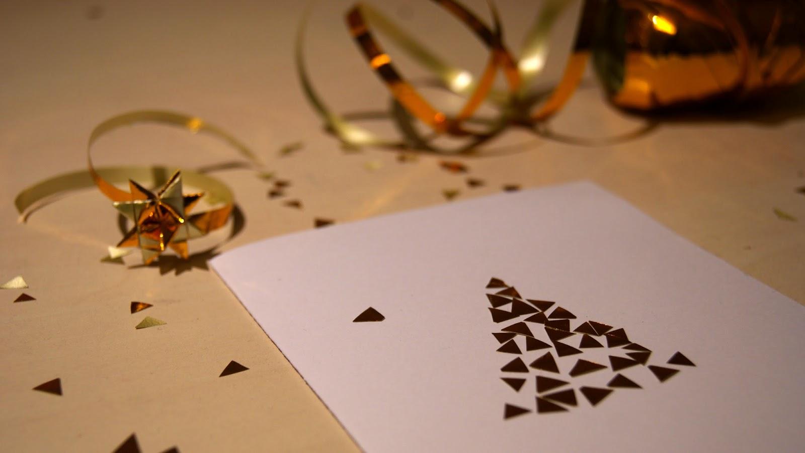 kartki świąteczne pomysły inspiracje diy złota mozaika choinka