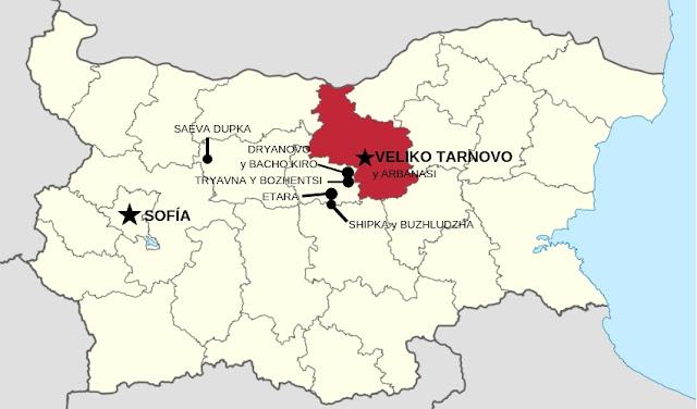 mapa Alrededores Veliko Tarnovo Bulgaria