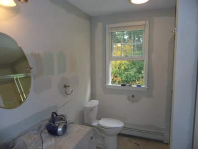 bathroom being prepped and painted.