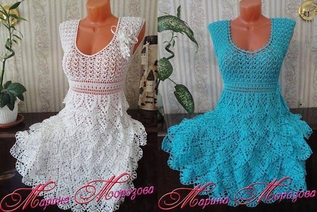 Patrón #1529: Vestidos a Crochet