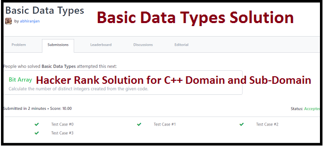 Hackerrank Basic Data Types Solution C++ Output