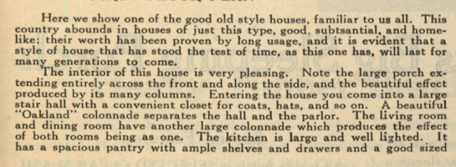 beginning of description of house from catalog page--Gordon-Van Tine Standard cut Home No. 115 1916 Standard Homes catalog
