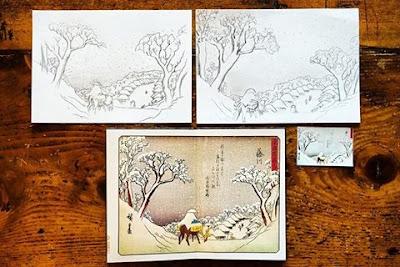 Le Chameau Bleu - Reproduction d'estampes japonaises Hiroshige