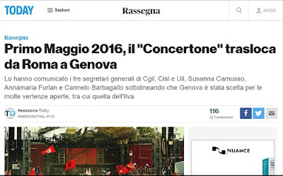 Concertone festa del lavoro: nessun spostamento da Roma a Genova