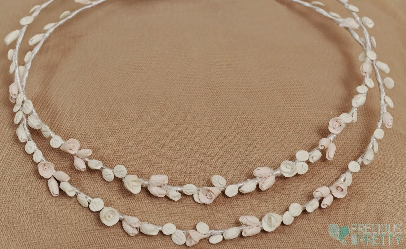 Stefana crowns for weddings with flowers made of porcelain