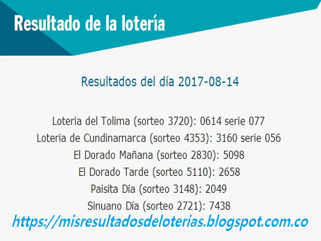Como jugo la lotería anoche - Resultados diarios de la lotería y el chance - resultados del dia 14-08-2017