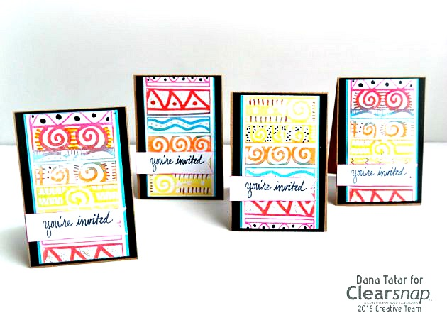 DIY Fiesta Print Party Invitation Set by Dana Tatar for Clearsnap
