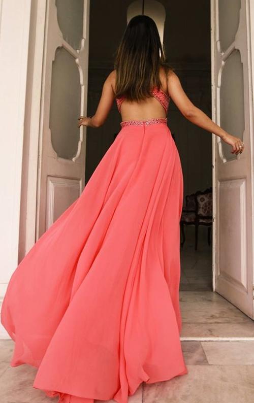 vestido de festa coral salmão