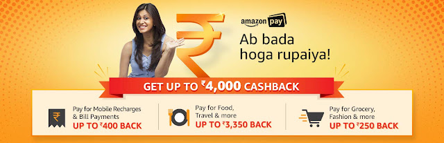 Upto Rs. 4000 Cashback on Bills, Recharges, Food, Travel, Shopping With Amazon Pay Balance
