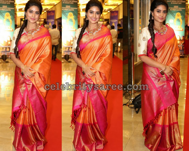 Sneha Orange Pink Silk Saree