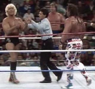 WWF / WWE SURVIVOR SERIES 1991 - Ric Flair backs off from The British Bulldog